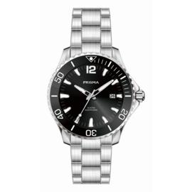 Prisma Zilverkleurig Diver Luminous Heren Horloge
