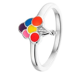 Zilveren Ring voor Kinderen met Regenboog Ballonnen