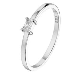 Vlakke Zilveren Ring met Prinses Zirkonia