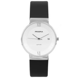 Prisma Zilverkleurig Dames Horloge met Witte Wijzerplaat