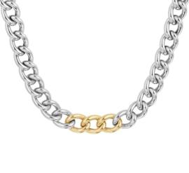 Zilveren Gourmet Collier met Gouden Schakels