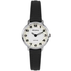 Prisma Zilverkleurig Rond Dames Horloge met Zwarte Cijfers