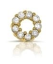 9x Zirkonia Cirkel ornament - goudkleurige coating