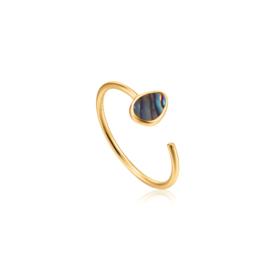 Ania Haie Turning Tides Goudkleurige Dames Ring met Decoratieve Steen