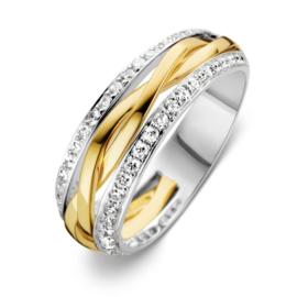 Excellent Jewelry Witgouden Ring met Twist Geelgouden Strook