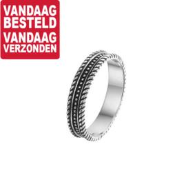 Geoxideerd Zilveren Ring met Zilveren Bolletjes en Randen / Maat 17,8