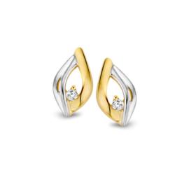Excellent Jewelry Bicolor Bladvormige Opengewerkte Oorstekers met Zirkonia
