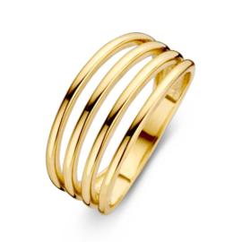 Excellent Jewelry Geelgouden Ring met Vier Slanke Stroken