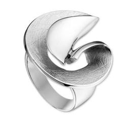 Intrigerende Fantasie Gescratchte Spiraal Ring van Zilver