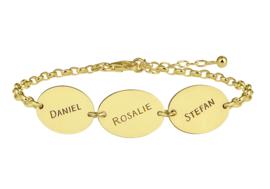 Names4ever Gouden Armband met Drie Ovaaltjes GNA64
