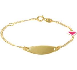 Gouden Graveer Armband voor Kinderen met Roze Hartje