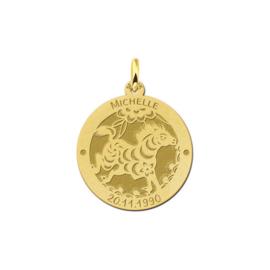 Ronde Chinese Sterrenbeeld Paard Hanger van Goud