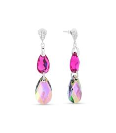 Spark Double Drop Oorhangers met Gekleurd Swarovski Kristal