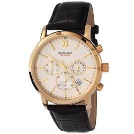Goudkleurig Heren Horloge met Zwart Lederen Horlogeband