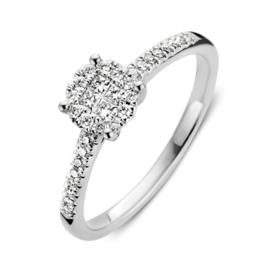 Excellent Jewelry Slanke Witgouden Ring met Diamant Kopstuk
