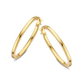 Excellent Jewelry Slanke Vlakke Creolen van Geelgoud