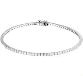 Slanke Witgouden Dames Armband met Transparante Diamanten