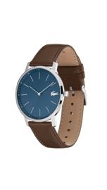 Lacoste Zilverkleurig Moon Heren Horloge met Blauwe Wijzerplaat