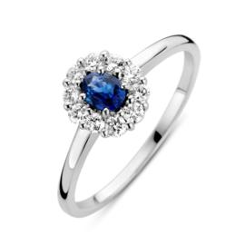 Excellent Jewelry Witgouden Ring met 0,24 crt. Saffier Kopstuk
