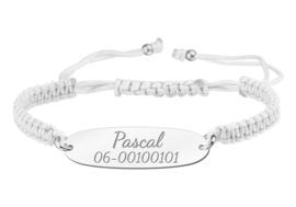 Witte Koordarmband met Naam/Nummer > Names4ever