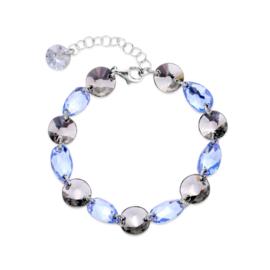 Zilveren Bovino Lichtblauwe Glaskristallen Armband van Spark