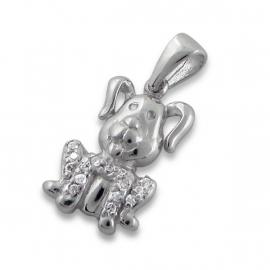 Zilveren kinderhanger hondje IB9226