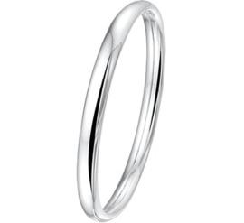 Zilveren Bangle armband Dop met Ovale Buis