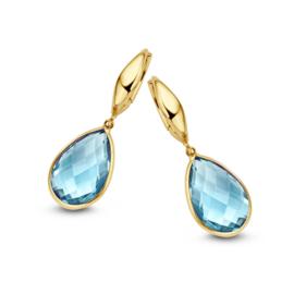 Excellent Jewelry Geelgouden Creolen met Blauwe Topaas