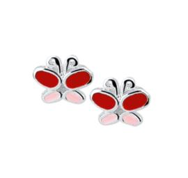 Rood met Roze Vlinder Oorknoppen van Zilver