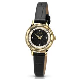 Sekonda Horloge met Sierdiamanten en Zwarte Band