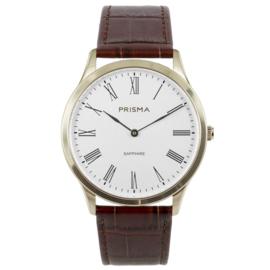 Goudkleurig Heren Horloge met Bruin Lederen Horlogeband van Prisma