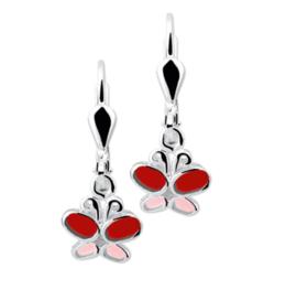 Gekleurde Zilveren Vlinder Oorhangers met Rode Emaille