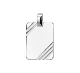 Robuuste Zilveren Graveer-hanger met Gediamanteerde Lijnen