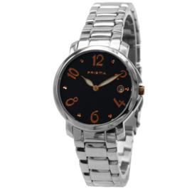 Prisma Rond Dames Horloge met Zwarte Wijzerplaat en Oranje Cijfers