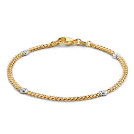 Excellent Jewelry Geelgouden Armband met Witgouden Rondjes en Briljant