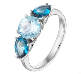 Witgouden Ring met Blauwe Topaas Edelstenen