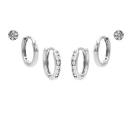 Karma Jewelry – Zesdelige Double Hinged Earparty Set - Zilver