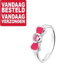 Ring voor Kinderen van Zilver met Roze Zirkonia Strik / maat 13