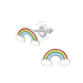 Zilveren Regenboog Kinderoorbellen met Schroefsluiting