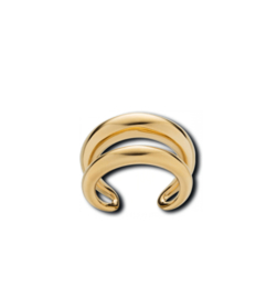 Goudkleurige Ring van Edelstaal met Twee Stroken van M&M