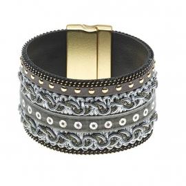 Grijs stoffen BIBA armband 5888ML