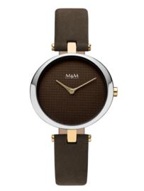 M&M Zilverkleurig Horloge met Bruin Lederen Horlogeband