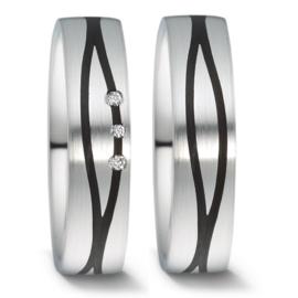 Zilveren Carbon Trouwringen Set met Drie Diamanten
