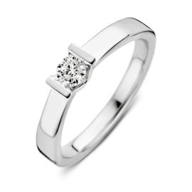 Excellent Jewelry Vlakke Witgouden Ring met Kleurloze 0,20 crt. Briljant