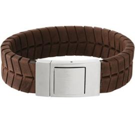 Bruin Lederen Profiel Armband met Edelstalen Sluiting - Graveer sieraad