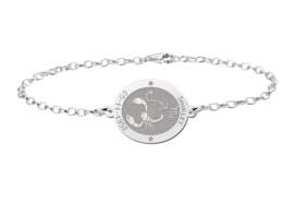 Zilveren Armband met Ovaalvormige Schorpioen Sterrenbeeld Naamhanger > Names4ever
