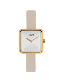 Vierkant Goudkleurig M&M Dames Horloge met Crème Horlogeband