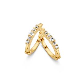 Excellent Jewelry Geelgouden Creolen met Vijf Zirkonia's