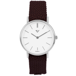 Prisma Slimline Dames Horloge met Wijnrode Nylon Band