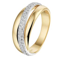 Fantasie Ring met Geelgoud en Witgoud en Diamanten Rij